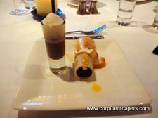 Bitter Chocolate Mousse with Popcorn Jelly