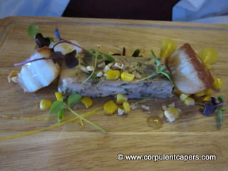 Chicken, Scallop, Sweetcorn and Hazelnut