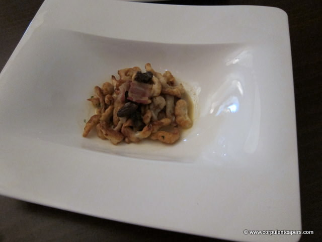 Swiss pasta, Welsh streaky, morel cream