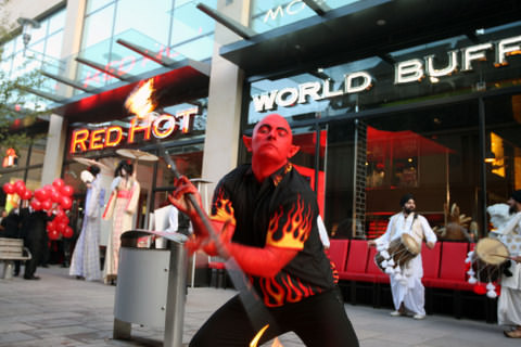 Red Hot Buffet Launch Street Performer