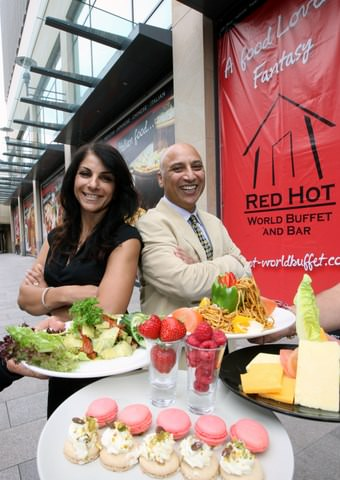 l r Red Hot World Buffet directors Helen and Parmjit Dhaliwal Red Hot World Buffet Cardiff   Launch Event