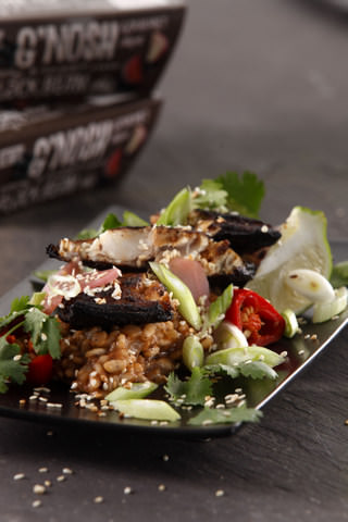 Soy Blackened Mackerel with a G'NOSH Smoky Black Bean Risotto