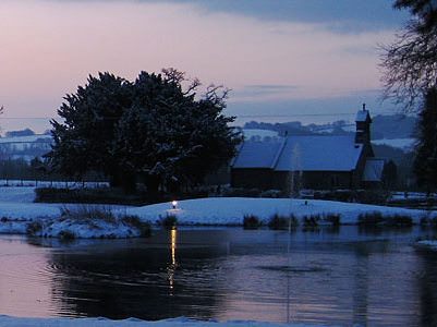 lake with snow Llansantffraed Court Hotel   Back On The Culinary Map
