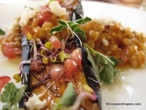 Picture of aubergine roasted with pomegranate molasses
