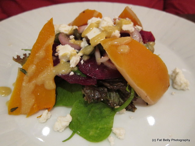 Picture of Goat's Cheese Salad with Squash, Beetroot and Capers.