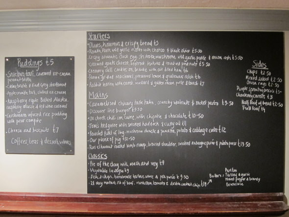 The ever changing chalkboard menu