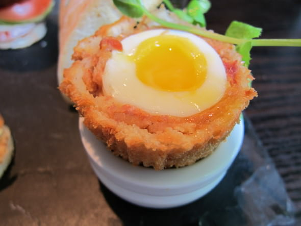 Chorizo Scotch egg with Bloody Mary mayonnaise