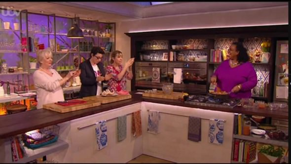 Corpulent Capers: Babette cooking Gumbo live on ITV's Mel & Sue Show